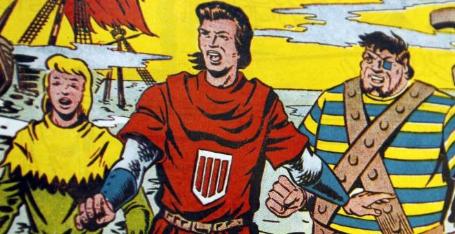 Una viñeta de 'El Capitán Trueno' en el que puede verse de izquierda a derecha a Crispín, el Capitán Trueno y Goliat. EFE/Fernando Alvarado