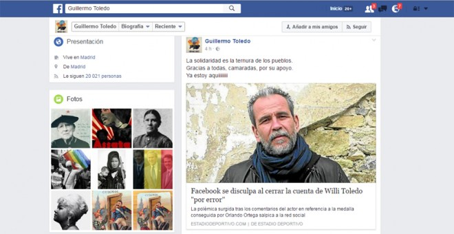 Cuenta del actor Willy Toledo en Facebook.