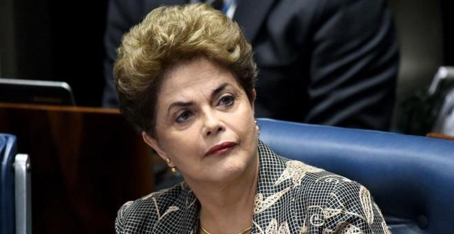 La presidenta suspendida de Brasil, Dilma Rousseff, durante su comparecencia en el Senado. - EFE