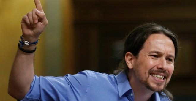 El líder de Podemos, Pablo Iglesias, durante su discurso durante la investidura de Mariano Rajoy, en el Congreso.- REUTERS