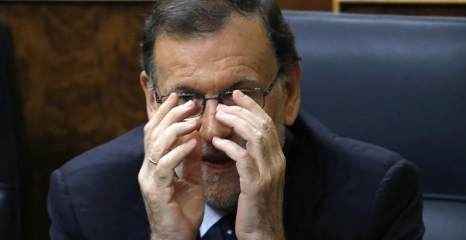 El candidato Mariano Rajoy, durante la sesión del debate de investidura en el Congreso de los Diputados. - EFE