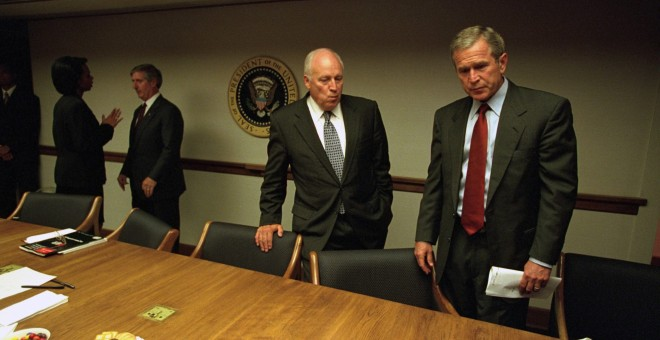 A file handout photo dated 11 September 2001 and provided by the US National Archives via the Vice Presidential Records of the Photography Office on 25 July 2015 shows former US President George W. Bush (R) and former US Vice President Dick Cheney in the