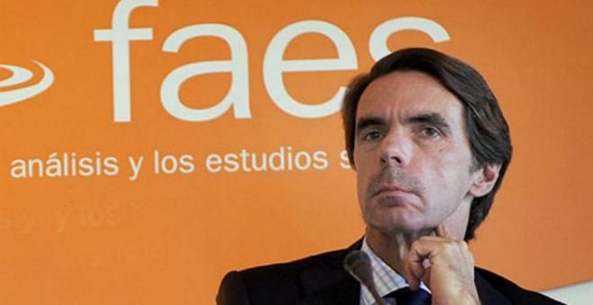 El expresidente del Gobierno, José María Aznar, en un acto de FAES. EFE