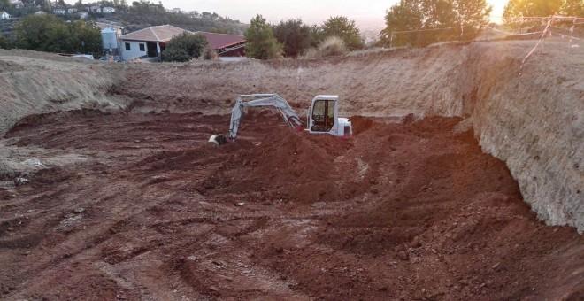 Lugar donde se estaban realizando la pesquisas para encontrar la fosa de  Lorca.- MARÍA SERRANO