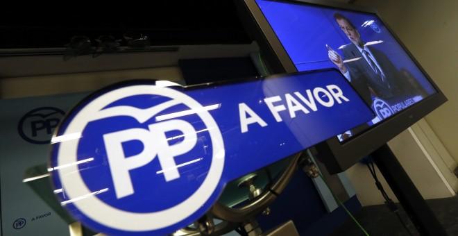 Monitor instalado en la sala de prensa de la sede del PP en la calle Génova de Madrid, durante la Junta Directiva Nacional del PP. EFE/Javier Lizón