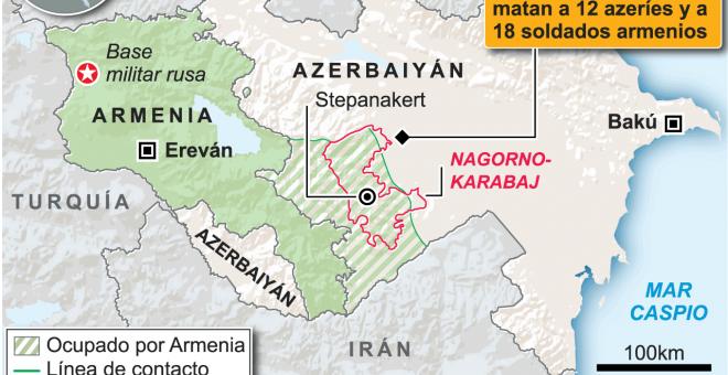 El gráfico muestra el mapa de Nagorno-Karabaj y recoge antecedentes sobre el conflicto.