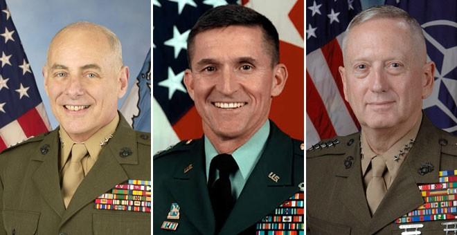 De izquierda a derecha; John Kelly, Michael Flynn y James Mattis.- AGENCIAS