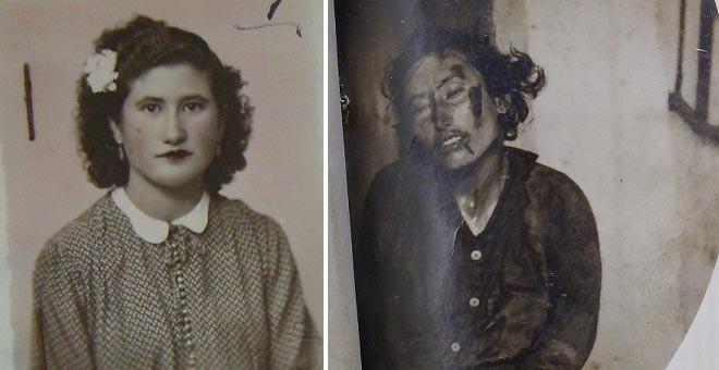 Sagrario Vera Cordo en 1943 (I) y abatida en 1945 (D).