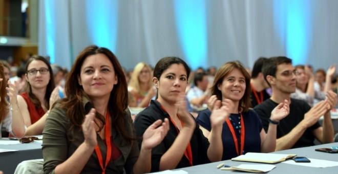 La europarlamentaria Marisa Matias y las diputadas Mariana Mortágua y Catarina Martins, en la X Convención del Bloque en junio de 2016./ BLOCO DE ESQUERDA