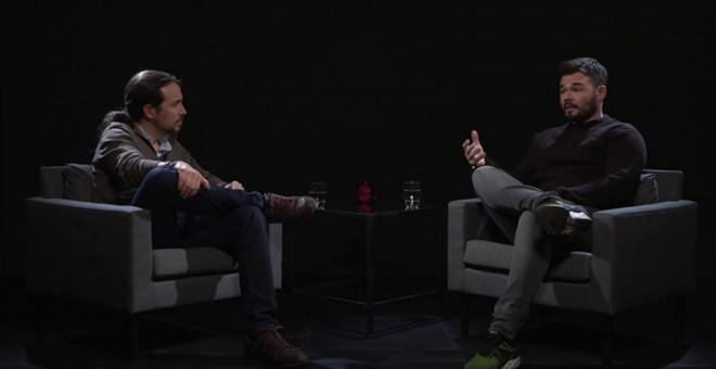 Pablo Iglesias entrevista a Gabriel Rufián, en 'Otra Vuelta de Tuerka'.