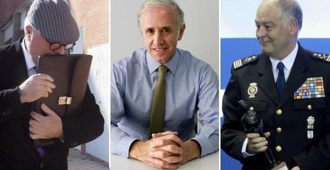 De izquierda a derecha, el excomisario José Manuel Villarejo, el periodista Eduardo Inda, y el ex número dos de la Policía Eugenio Pino. EFE