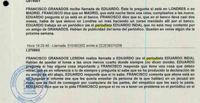 Fragmento del listado de llamadas de la trama Púnica.
