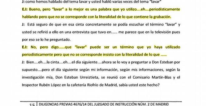 Fragmento de la declaración de Inda ante el juez en el caso Nicolás.