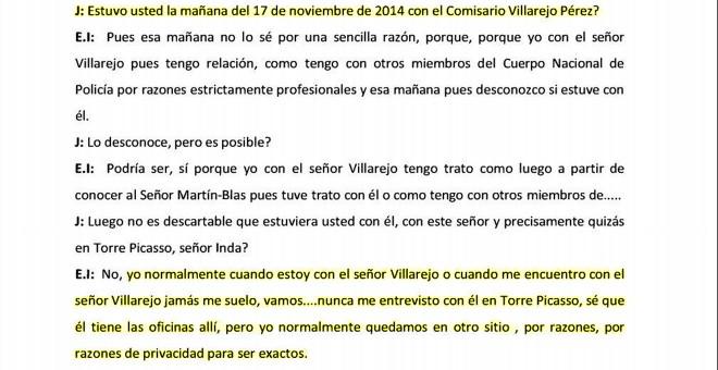 Inda declara sobre sus tratos con Villarejo.