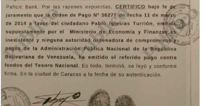 Fragmento del documento que acredita que Pablo Iglesias no cobró de Venezuela en el Euro Pacific Bank de las Islas Granadinas.