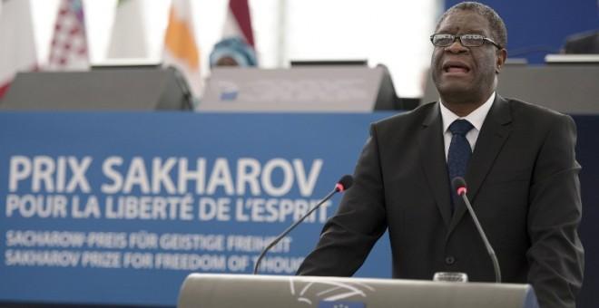 Denis Mukwege, durante la ceremonia de entrega del Premio Sájarov en el Parlamento Europeo. - AFP