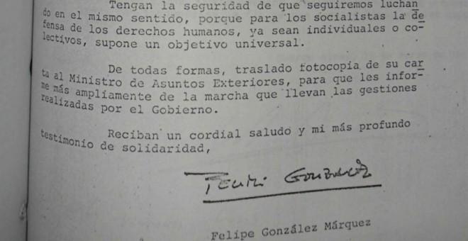 Detalle de uno de los documentos de la relación entre los gobiernos de González y la dictadura argentina. /PÚBLICO