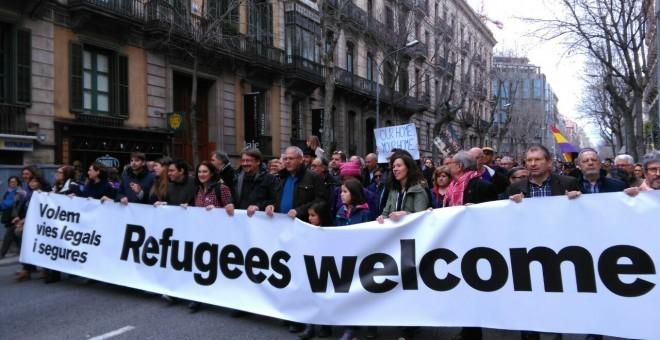 Imagen de la manifestación del pasado sábado 18 de febrero en Barcelona reclamando que se acoja a los refugiados / L.S