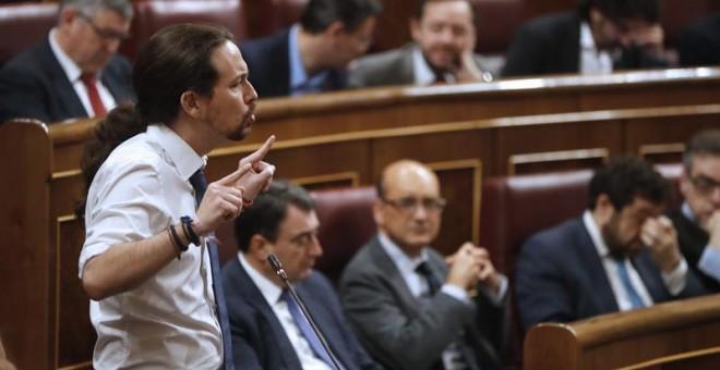 El líder de Podemos, Pablo Iglesias, durante la sesión de control al Gobierno en el Congreso. - EFE
