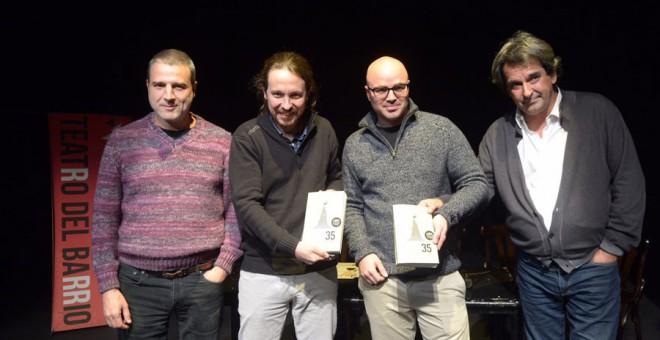 Alberto San Juan, Pablo Iglesias, Rubén Juste y Miguel Mora, instantes previos a la presentación del libro