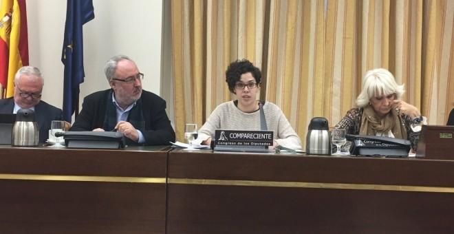 Ana García Rubio, secretaria general del Sindicato de Estudiantes, este jueves en la Comisión de Educación del Congreso. EP