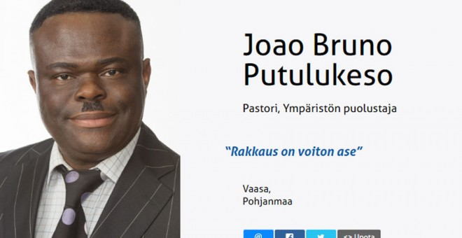 Joao Bruno Putulukeso, candidato de Verdaderos Finlandeses.