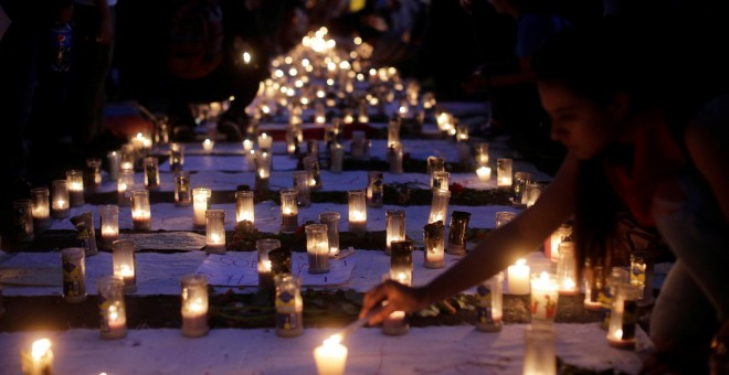 Candles are lit during a protest to demand justice for the victims of a fire at the Virgen de Asuncion children's shelter, in front of the National Palace in Guatemala City, Guatemala, March 11, 2017. REUTERS/Saul Martinez