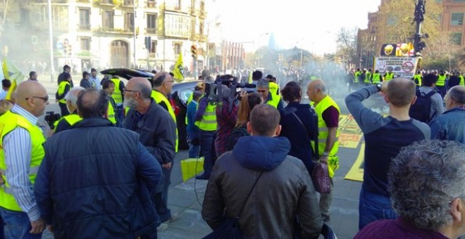 Taxistes durant la protesta. EUROPA PRESS