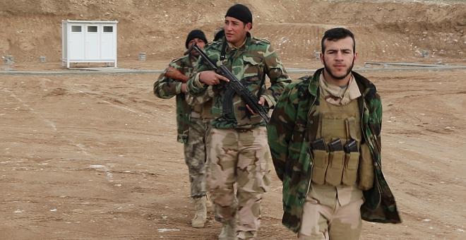 Milicianos del NPU en el campo de entrenamiento de Alqosh. Ferran Barber