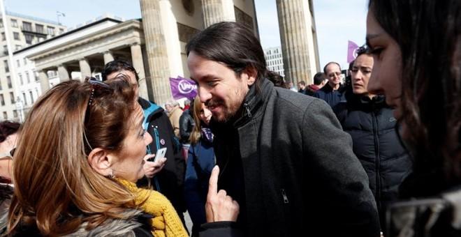 Pablo Iglesias, durante su acto en Berlín.- EFE