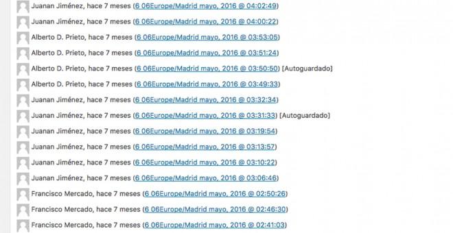 Listado de revisiones de la información escrita por Francisco Mercado, tal como aparece en el CMS de Okdiario.
