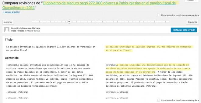 Inicio de la noticia escrita por Mercado sobre la supuesta cuenta de Iglesias en Las Granadinas.