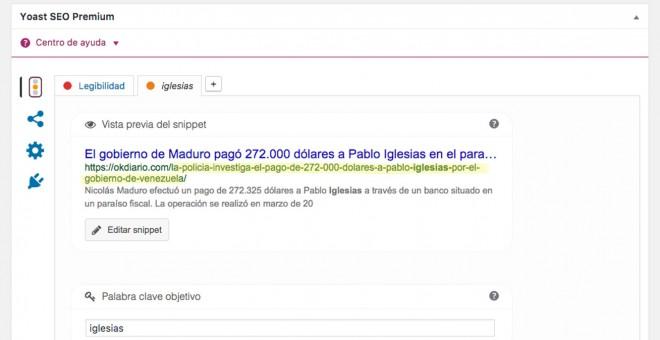 Identificación URL del texto de Francisco Mercado expuesta en el CMS de OKdiario.