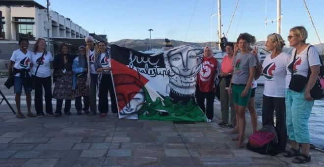 El grupo de activistas del Zaytouna antes de partir rumbo a Gaza.