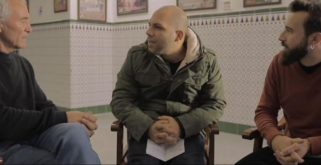 Un instante de la entrevista entre Aspencat y Diego Cañamero