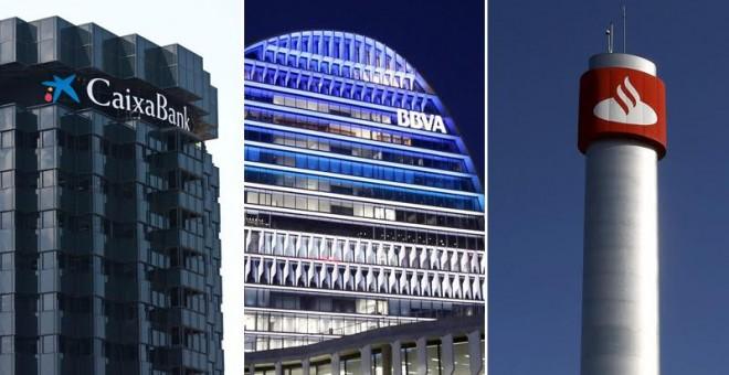 Los logos de Caixabank, BBVA y Santander, en sus respectivas sedes en Barcelona, Madrid y Boadilla.