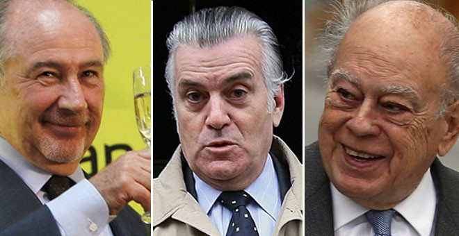 Rato, Bárcenas y Pujol son tres de los protagonistas de la 'trama' que Podemos desvelará en su 'tramabús'.