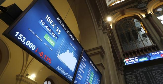 Un panel informativo en la Bolsa de Madrid con la cotización del Ibex 35. EFE/Emilio Naranjo