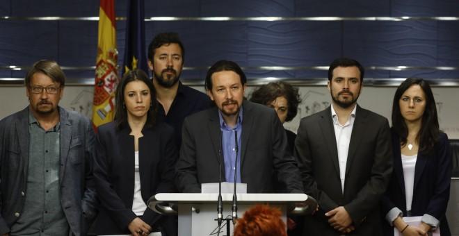 Rueda de prensa de Unidos Podemos en el que se anuncia la moción de censura contra Rajoy.- EP
