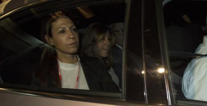 Susana Díaz abandonando la sede del Partido Socialista después de conocer su derrota a la secretaría general del partido.EFE/Luca Piergiovanni