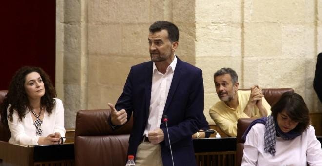 Antonio Maíllo, portavoz del Grupo de Izquierda Unida, durante su intervención este jueves. PARLAMENTO DE ANDALUCÍA
