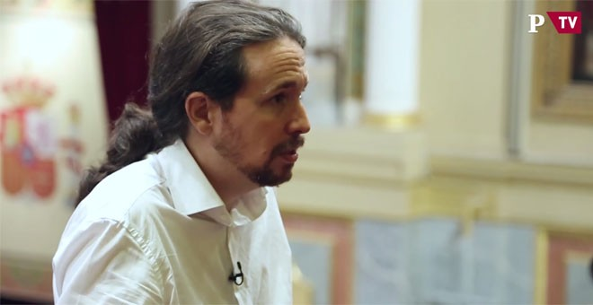 Pablo Iglesias, en otro momento de su entrevista con Público, días antes del debate de la moción de censura en el Congreso. PÚBLICOTV
