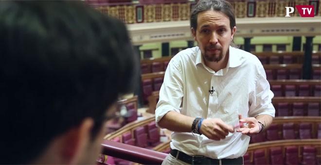 El líder de Podemos analiza la actualidad política con 'Público', el viernes pasado, en el hemiciclo del Congreso. PÚBLICOTV