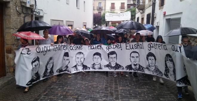 Manifestación realizada en Altsasu el pasado viernes, en apoyo a los jóvenes acusados de terrorismo.