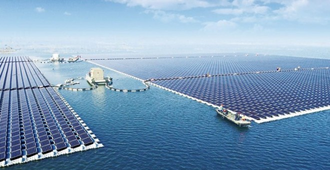 Central solar fotovoltaica flotante de 40 megavatios recién inaugurada en China./SUNGROW