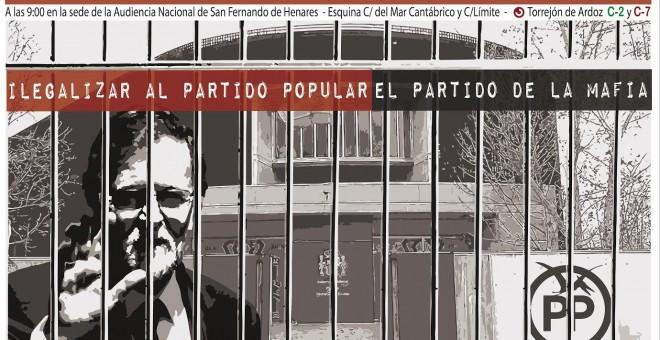 Cartel de la Coordinadora 25S para la convocatoria de concentración 'Ilegalizar el Partido Popular, el partido de la mafia'