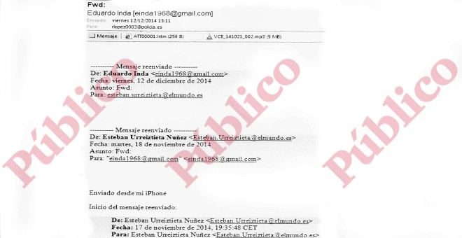 Correo electrónico del periodista Eduardo Inda al inspector López con la grabación ilegal a agentes del CNI en Asuntos Internos.