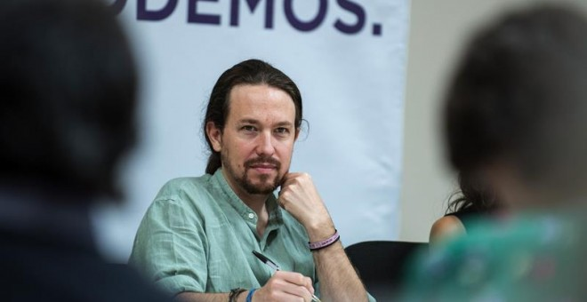 El secretario general de Podemos, Pablo Iglesias, durante el Consejo Ciudadano Estatal de Podemos en Carranque (Toledo).EFE/Ismael Herrero