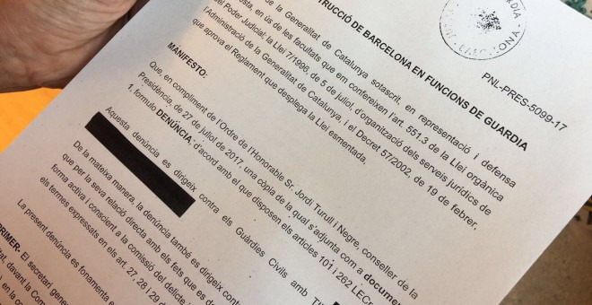 Escrit de denùncia presentat al jutjat pel govern català
