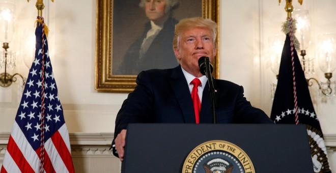 Donald Trump, presidente de Estados Unidos en la comparecencia de este lunes. / REUTERS